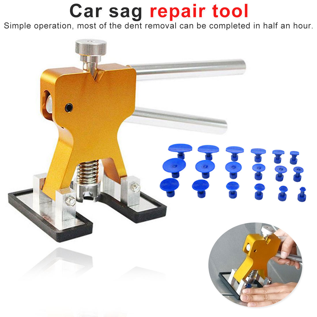 Car Body Paintless Dent Puller Lifter Repair Tool +18 Tabs Car Dent Remover Car Dent Repair Tools Cars Tool Kit Hand Tool Sets