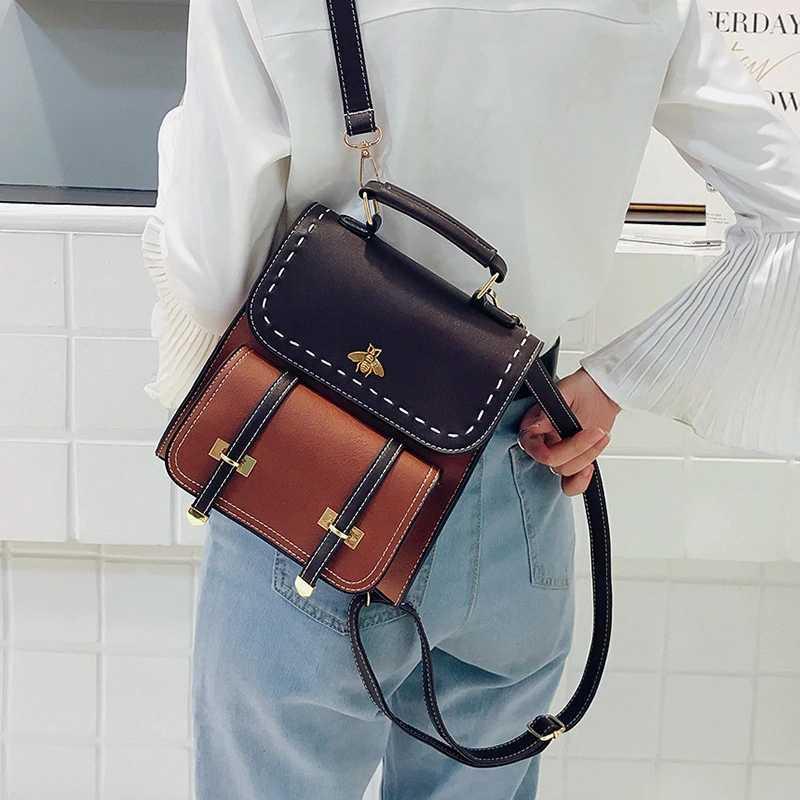2019 moda feminina mochila de couro do plutônio do vintage mochila de escola de abelha