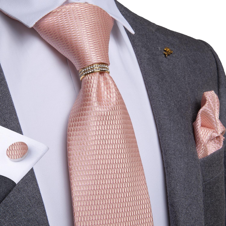 New Designer Mens Necktie Pink Solid Wedding Tie For Men Necktie Ring Silk Tie Set Hanky Cufflinks DiBanGu Business JZ-03-7195