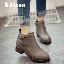 Bison Spring Women Boots Round Head Thick Heel Bottom PU Leather Waterproof Woman Martin Boots Winter Female Ankle Boots original new winter thick bottom sponge women boots waterproof genuine leather boots naked female ankle boots a16ccyn82375