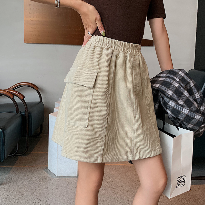 Milk Rabbit Planet-Self-Made Japanese-style CORDUROY Women's Versatile A- Line Skirt Hong Kong Style Fall And Winter Clothes 201