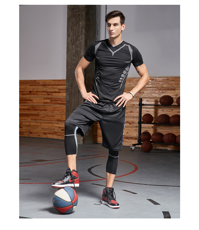 Dry Fit Men's Training Sportswear Set Gym Fitness Compression Sport Suit Jogging Tight Sports Wear Clothes 4XL5XL Oversized Male
