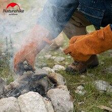 Naturehike Outdoor Camping Picknick BBQ Küche Leder Handschuhe Rindsleder Wärmedämmung Handschuhe Flammschutzmittel Backen Lange Handschuhe