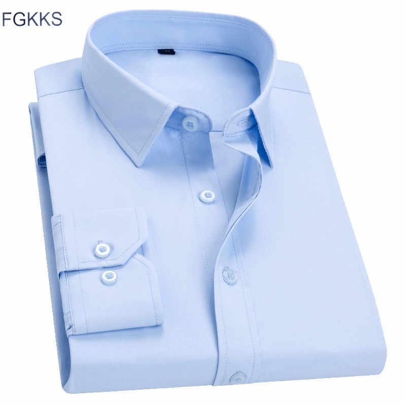 FGKKS nuevos estantes Camiseta slim fit para hombre camisa de los hombres, Color sólido Simple perfil bajo de alta calidad camisas hombre chaqueta