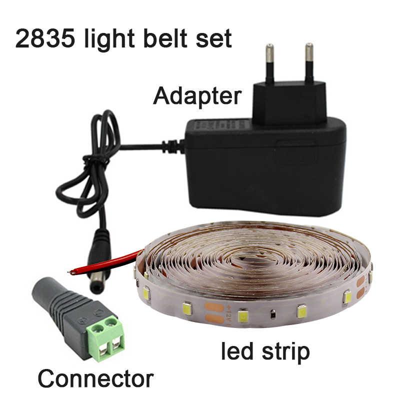 Lampu LED Strip 2835 12 V Tahan Air Fleksibel LED Pita Dioda Rgb Merah Biru Hijau Putih Hangat Putih 0.5 M 1M 5M Neon Pita