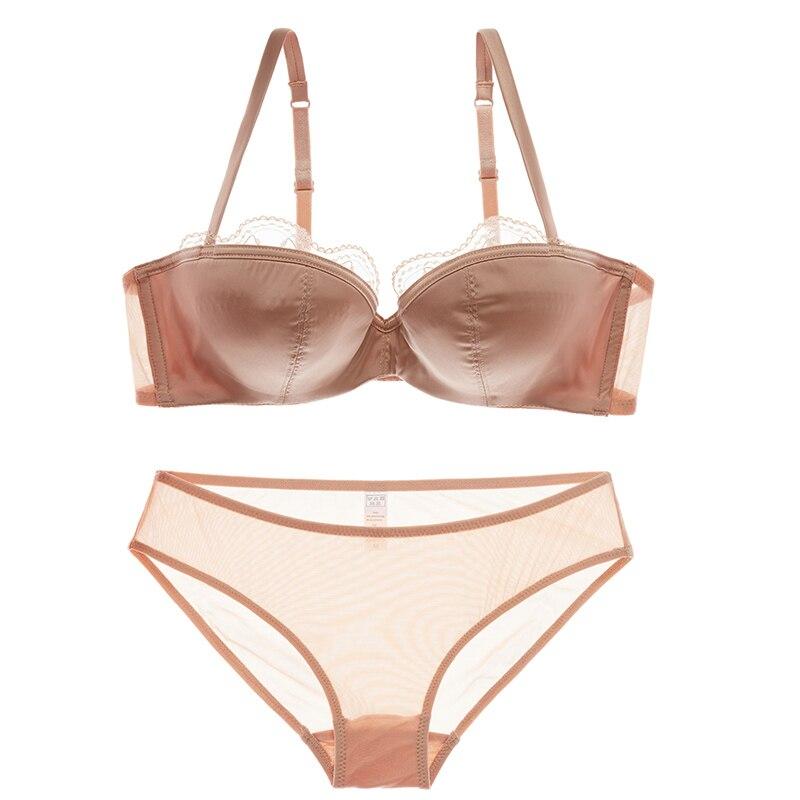 New Satin half cup bra set red women underwear set sexy plus size B C D cup lace lingerie push up bra set thin cotton 2