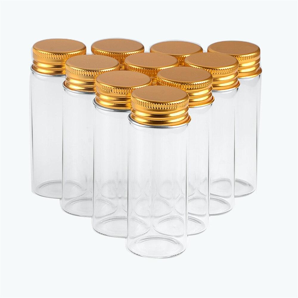 30x80x21mm 40ml Transparent Glass Jars With Aluminium Screw Cap Empty Bottles Golden Lids Glass Bottles Gift Vials Jars 50pcs-in Storage Bottles & Jars from Home & Garden    1