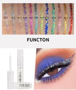 Portable 12 Color Liquid Glitter Eyeliner Shiny Shimmer Waterproof Lasting Eyes Makeup Cosmetics Liquid Eyeshadow Eyeliner TSLM2