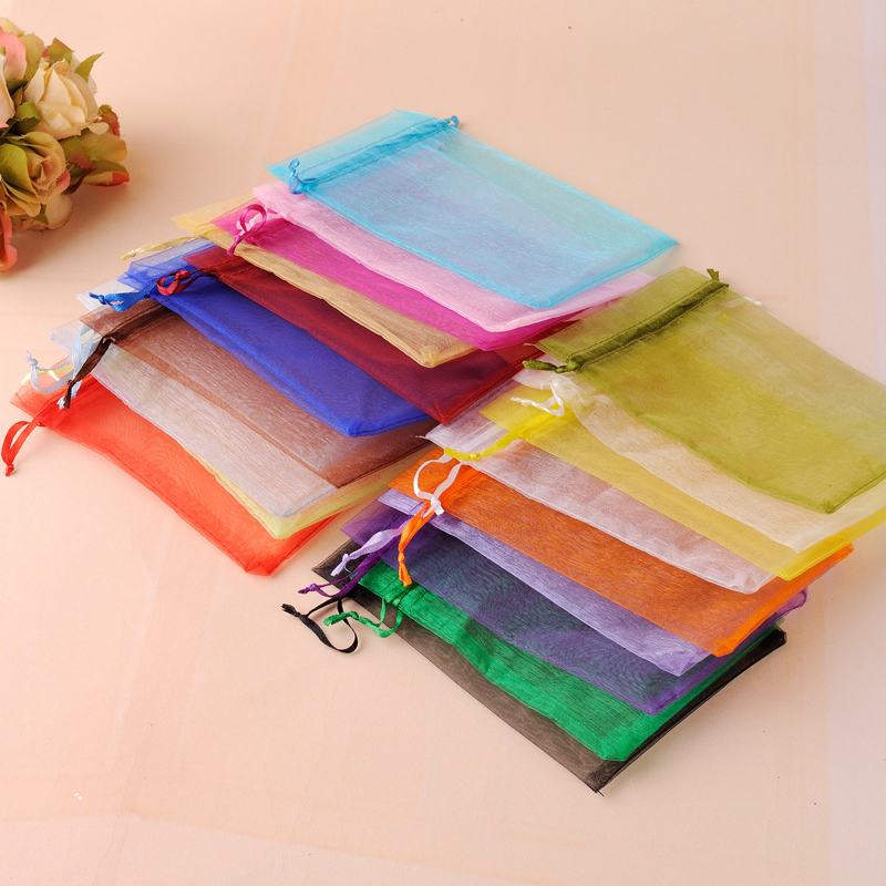 50pcs 7x9cm 9x12cm 10x15cm 13x18cm 15x20cm Transparent Organza Bags Wedding Candy Box Packaging Birthday Party Gift Box Wrapping(China)