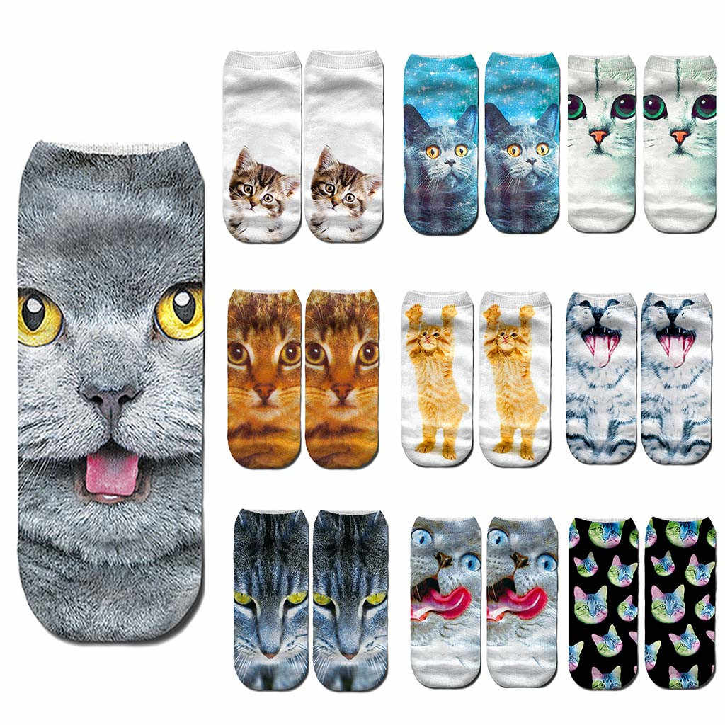 skarpetki christmas socks Women 3D Novelty Crazy Funny Cat Ankle funny sockss Cute Colorful Cartoon Cat Boat Sock calcetines