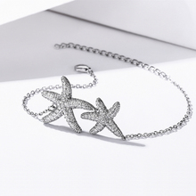 SODROV 925 Sterling Silver Jewelry Bracelet For Girls Starfish Chain Womens
