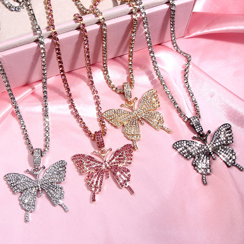 Caraquet 2020 New Butterfly Crystal Pendant Necklace for Women Fashion Rhinestone Chain Choker Necklace Animal Insect Jewelry