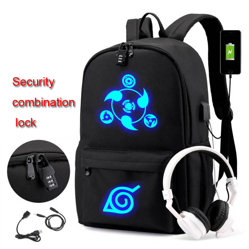 Naruto Anti-theft Backpack Luminous Uzumaki Naruto Trendy Usb Laptop School Bag For Girls Boys Teenagers Children's Cool Bookbag