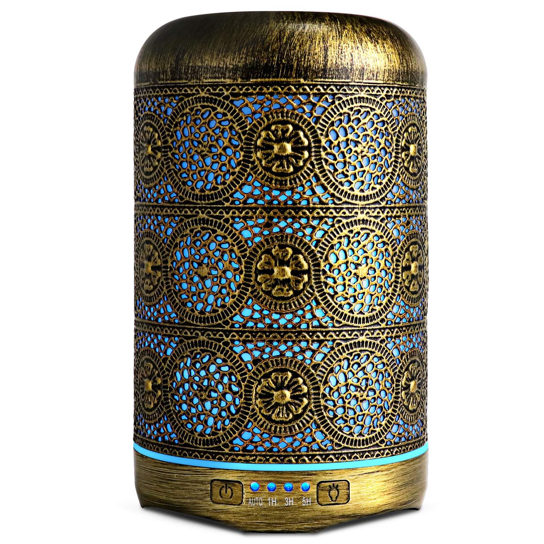 Metal Air Humidifier Retro Aromatherapy Machines 250ml Essential Oils Diffuser 7 Colors Night Light Auto Shut Off