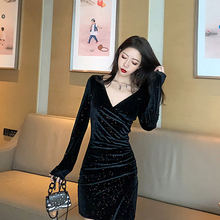 [LDYRWQY] Autumn and winter new fashion closed waist split bag hips were thin and shiny bottom