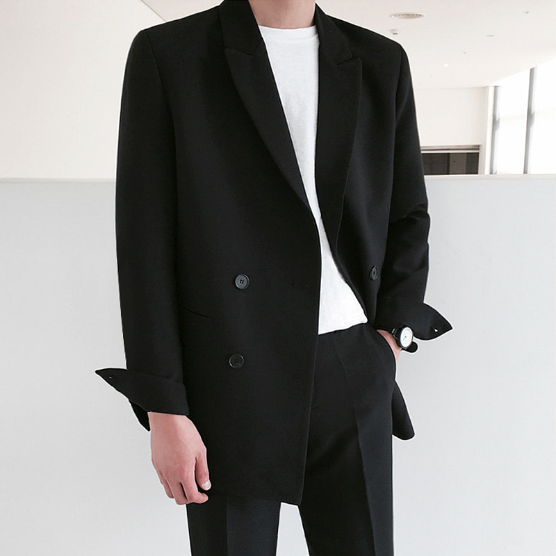 2019 Autumn And Winter New Korean Youth Popular Loose Jacket Coat Fashion Casual Solid Color Loose Suit Black M-2XL