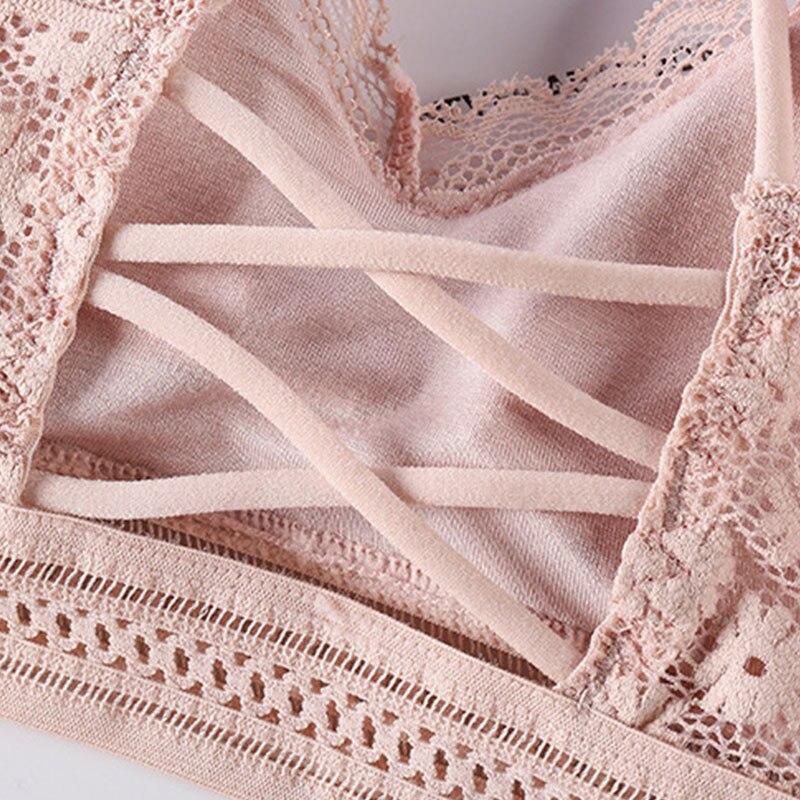 Lace Bra Sets Women Seamless Underwear Backless Vest Sexy Panties Padded Bralette Lingerie Ultrathin Briefs Female Intimates