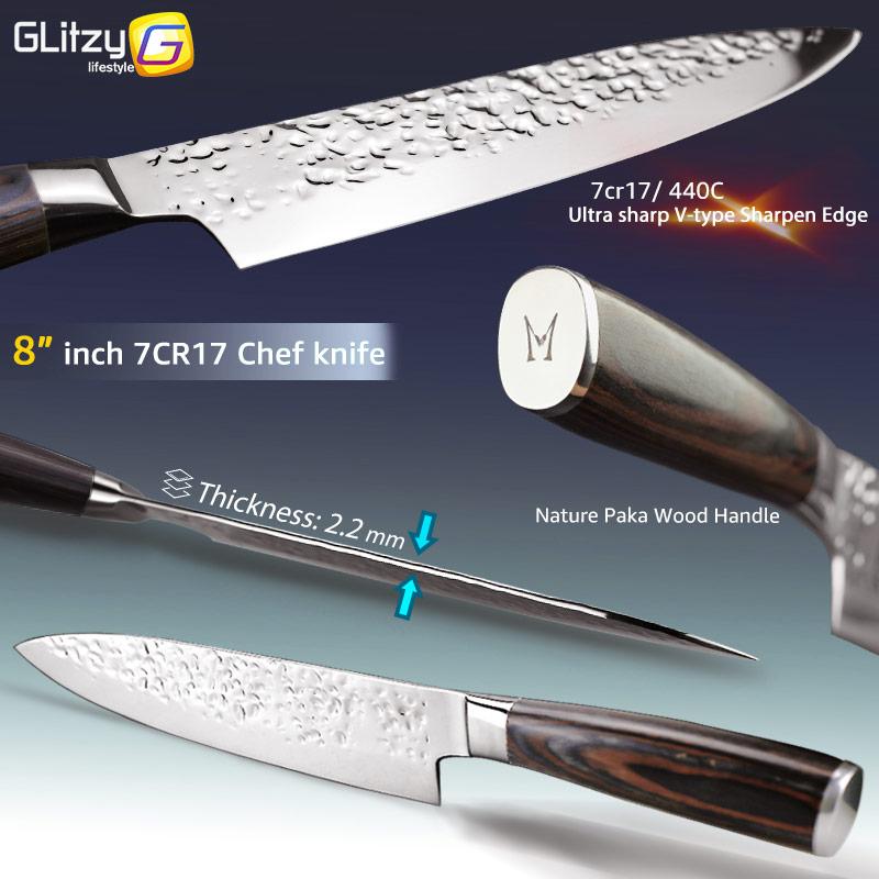 Kuća i bašta ... Kuhinja i trpezarija ... 32800950776 ... 2 ... Kitchen Knife 8 inch Professional Japanese Chef Knives 7CR17 440C High Carbon Stainless Steel Meat Cleaver Slicer Santoku Knife ...