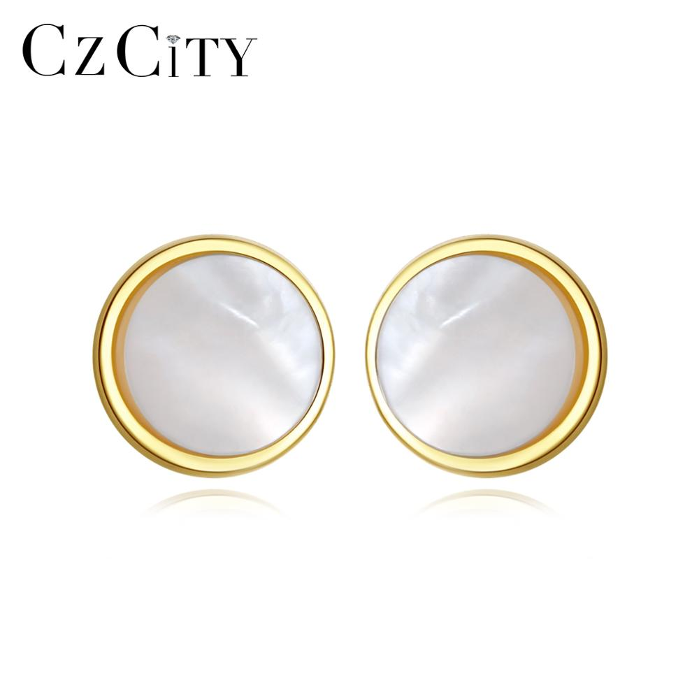 CZCITY Exquisite Small Round Stud Earrings For Women Girls Dating Transparent White Natural Shell 925 Silver Fine Jewelry FE0248