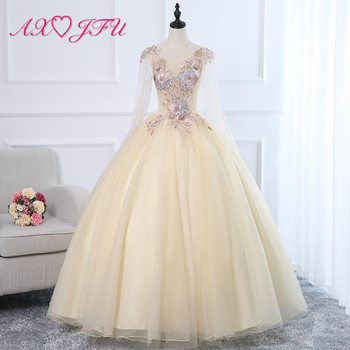 AXJFU flower champagne lace bride evening dress luxury v neck beading embroidery vintage long sleeve illusion host evening dress