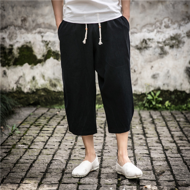 Summer Capri Pants MEN'S Beach Shorts Shorts Chinese-style Cotton Linen Loose-Fit Flax Casual Thailand Large Size Fat Trend