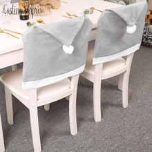 Santa Claus Cap Chair Cover Christmas Dinner Table Party Gray Red Hat Chair Back Covers Xmas Christmas Decorations For Home New christmas chairs cover cap non woven dinner table red hat santa claus chair back covers xmas christmas decorations for home