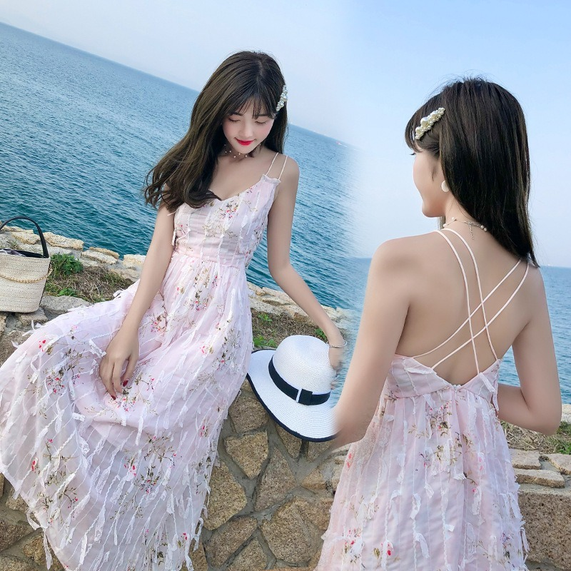 Fairy condole belt skirt in summer cultivate morality show slim backless nude dress sexy new holiday beach dress image