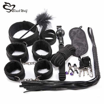 10Pcs BDSM Sex Kits Sex Products Erotic Toys for Adults Bondage Set Handcuffs Nipple Clamps Gag Whip Rope Sex Toys For Couples - DISCOUNT ITEM  48 OFF Beauty & Health