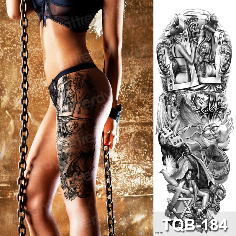 Tattoo Vintage Black Men Fake Tatoo Legs Waterproof Large Temporary Tattoos For Women Sexy Body Art Stickers Bikini Summer Style