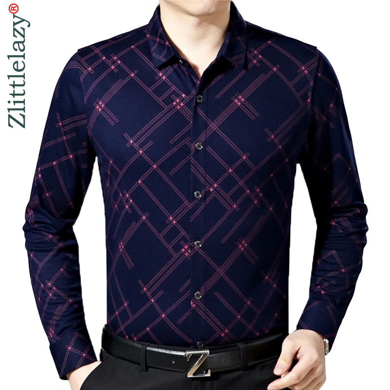 2019 New Male Fashion Brand Casual Business Slim Fit Men Shirt Camisa Long Sleeve Plaid Social Shirts Dress Clothing Jersey 6637