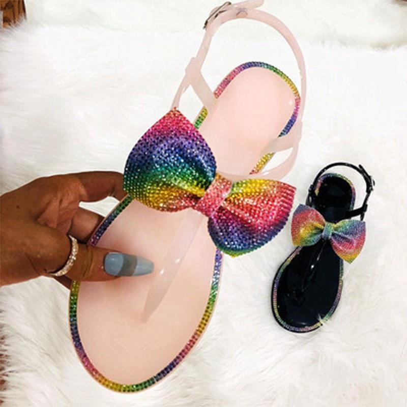 Women Sandals Woman Flip Flop Jelly Shoes 2020 Glitter Flat Bowtie Shoes For Wholesale Beach Fashion Shoe Home Footwear Big Size