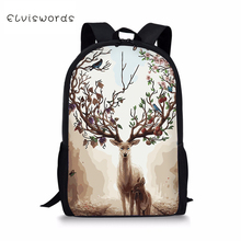 ELVISWORDS Fashion Childrens Backpack Fantastic Deer Painting Toddler Kids School Book Bags Kawaii Animal Girls Travel