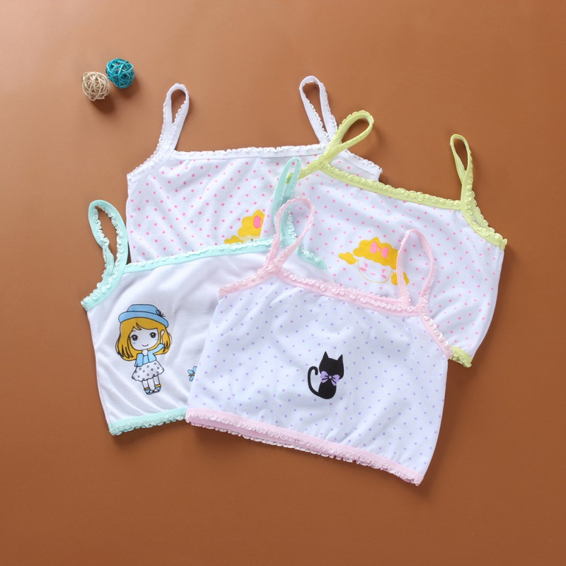 1PCS Children Baby Girls Summer Cartoon Print Seamless Training Bra Teenage Soft Cotton Underwear Random Color