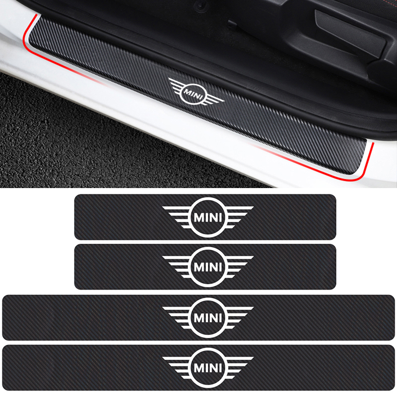 4Pcs Car Carbon Fibre Vinyl Door Plate Scuff Protection Stickers For BMW MINI Cooper One S R50 R53 R56 R60 F55 F56 Car Styling