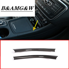 2pcs Carbon Fiber Chrome Center Console Decoration Strips Trim For Mercedes Benz A/GLA/CLA Class 200 220 260 W176 A180