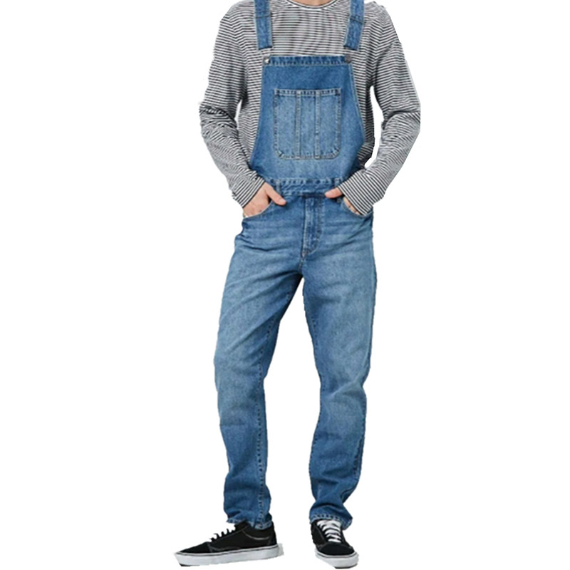 KIOVNO Men Fashion Casual   Jeans   Jumpsuits Front Pockets Loose Bib Overalls Male Streetwear Pants Size S-3XL