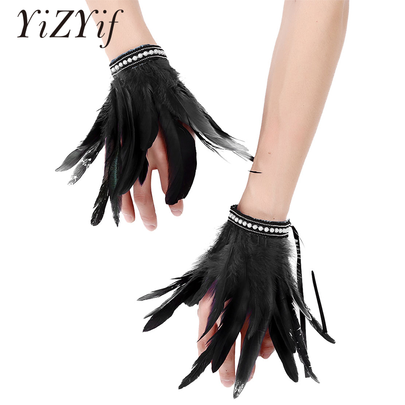 Gothic Punk Feather Wrist Cuffs Arm Cuffs Faux Pearl Lace Real Natural Dyed Rooster Feather Wrist Cuffs Halloween FeatherCostume