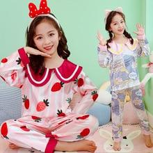 Big Girls Homewear Suit 2021 New Spring Summer Pajams Set for Children Silk Satin Long Sleeve Pijamas Nightwear Young Clothing