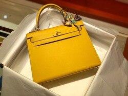 Die höchste qualität damen luxus mode schulter tasche 100% leder marke berühmte damen hand-maß freies verschiffen 28CM