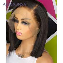 Straight Human Hair Wigs Short Bob Lace Front Wigs For Black Women Short Lace Front Human Hair Wigs 13x4 Lace Frontal Remy 130%