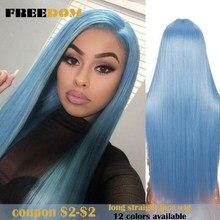 FREEDOM – perruque de Cosplay synthétique, cheveux lisses et longs de 30 pouces, couleur arc-en-ciel, bleue et Blonde, pour femmes noires