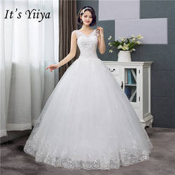It's YiiYa New V-neck Wedding Dresses Simple Off White Sequined Cheap Wedding Gown De Novia HS288