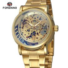 FORSINING Fashion Top Brand Men Automatic Watches Full Stainless Steel Mechanical Skeleton Watch Black Clock Relogio Masculino forsining golden skeleton mechanical watches men luxury brand watch automatic stainless steel casual wristwatch hollow out clock
