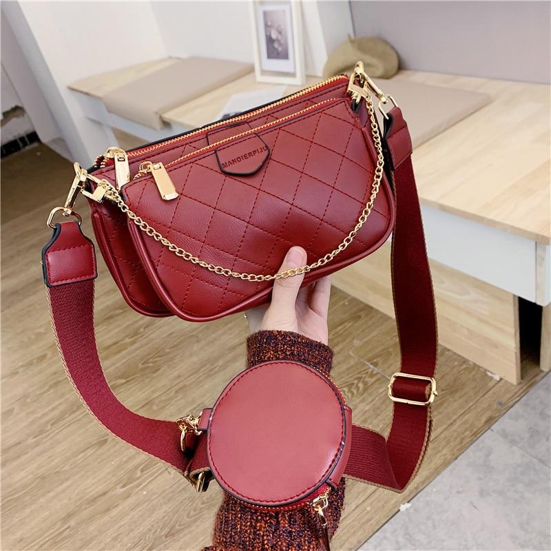 Wild Messenger Shoulder Bags Female Fashion Letter Flap Plaid Chains Zipper Women's Handbags Casual Crossbody Bags Ladies Totes