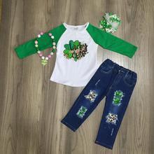 Милый зеленый костюм с леопардовым трилистником на День Святого Патрика для малышей весенние хлопковые джинсы для девочек, штаны, одежда подходящие аксессуары