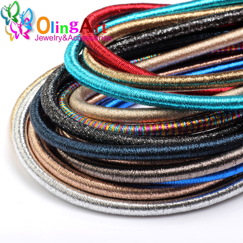 Free Shipping 8mm 46cm Soft Rayon Silk Metal Color Cord  Hollow Rubber DIY Necklace Bracelet Jewelry Making Findings Olingart