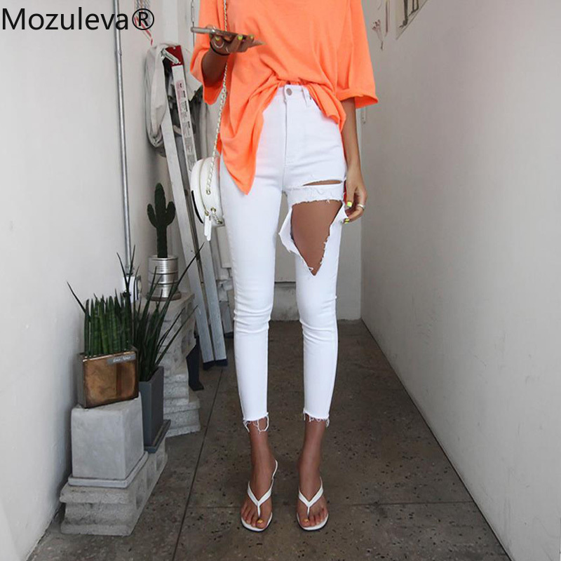 Mozuleva White Denim Jean Women Mom Jean Pant Boyfriend Jean For Women High Waist Skinny Ripped Tassels Stretchable Female Jean