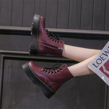 Winter Motorcycle Women Ankle Snow Boot Soft Leather Wedges Rubber Platform Lace