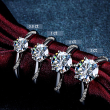 Классическое 925 пробы Серебряное кольцо с муассанитом 1ct 2ct 3ct круглая блестящая огранка простое обручальное юбилейное кольцо хорошее ювелирное изделие