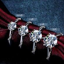 Klasik 925 ayar gümüş moissanite yüzük 1ct 2ct 3ct yuvarlak parlak kesim basit nişan yıldönümü yüzüğü güzel takı